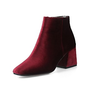 cheap Women's Heels-Women's Boots Plus Size Flare Heel Square Toe Casual Vintage Daily Office & Career Solid Colored Velvet Booties / Ankle Boots Winter Wine / Almond / Black / EU42
