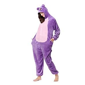 cheap Kigurumi Pajamas-Adults' Kigurumi Pajamas Cat Monkey Onesie Pajamas Flannel Toison Purple Cosplay For Men and Women Animal Sleepwear Cartoon Festival / Holiday Costumes