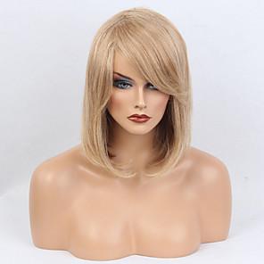 cheap Human Hair Capless Wigs-Human Hair Wig Medium Length Straight Straight Side Part Machine Made Women's Medium Auburn / Bleach Blonde