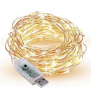 cheap LED String Lights-10m String Lights 100 LEDs SMD 0603 1pc Warm White / White / Multi Color Decorative USB Powered / IP65