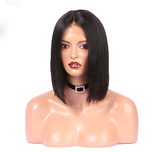 cheap Human Hair Wigs-Human Hair Glueless Lace Front Lace Front Wig Bob Kardashian style Indian Hair Straight Wig 130% Density with Baby Hair Natural Hairline For Black Women Women's Short Human Hair Lace Wig
