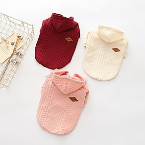 cheap Dog Clothes-Dog Sweater Hoodie Winter Dog Clothes Red Pink Beige Costume Woolen Solid Colored Casual / Daily S M L XL XXL