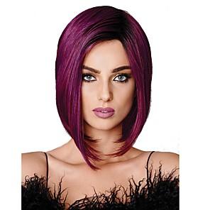 cheap Synthetic Trendy Wigs-Synthetic Wig Straight Straight Bob Wig Medium Length Black / Purple Synthetic Hair Women's Kanekalon Hair Purple StrongBeauty