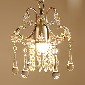 cheap Ceiling Lights-1-Light 23 cm Crystal / Bulb Included Pendant Light Metal Crystal Painted Finishes Antique 110-120V / 220-240V