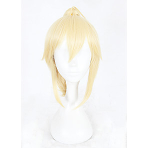 cheap Synthetic Trendy Wigs-Synthetic Wig kinky Straight kinky straight With Ponytail Wig Blonde Short Blonde Synthetic Hair Women's Braided Wig Blonde