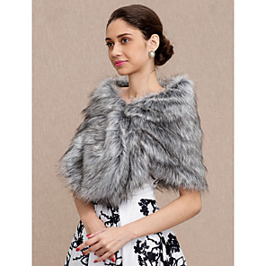 cheap Wedding Wraps-Shawls Faux Fur Wedding / Party / Evening Women's Wrap With Smooth / Fur