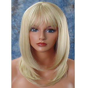 cheap Synthetic Trendy Wigs-Synthetic Wig Straight Straight Layered Haircut With Bangs Wig Blonde Medium Length Light Blonde Synthetic Hair Women's Natural Hairline Blonde