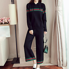 cheap Projectors-Women's Plus Size Hoodie Daily Solid Colored Pant Hooded / Fall / High Rise / Sporty Look