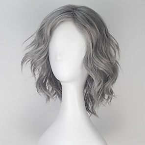 cheap Synthetic Trendy Wigs-Synthetic Wig Cosplay Wig Loose Wave Loose Wave Monofilament L Part Wig Short Grey Synthetic Hair Men's Gray miss u hair