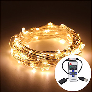 cheap LED String Lights-5m String Lights 100 LEDs Warm White / RGB / White Waterproof / Remote Control / RC / Dimmable <5 V / IP65 / Color-Changing