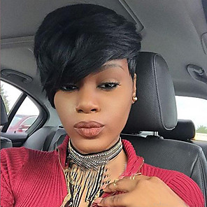 cheap Synthetic Trendy Wigs-Synthetic Wig Straight Straight With Bangs Wig Short Jet Black #1 Synthetic Hair 8 inch Women's African American Wig With Bangs Black