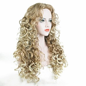 cheap Synthetic Lace Wigs-Synthetic Wig Curly Curly Wig Blonde Long Strawberry Blonde / Light Blonde Synthetic Hair Women's Blonde StrongBeauty
