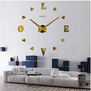 """cheap Wall Clocks-Casual / Modern Contemporary / Office / Business Stainless Steel / EVA 2"""" Heart Romance / Fashion AAA Decoration Wall Clock Analog Brushed Steel No"""