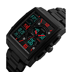 cheap Sport Watches-Men's Sport Watch Military Watch Wrist Watch Japanese Quartz Black 50 m Water Resistant / Waterproof Calendar / date / day Chronograph Analog - Digital Vintage Casual Bangle - Black Red Blue