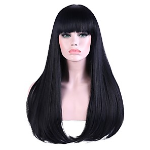 cheap Synthetic Trendy Wigs-Synthetic Wig Bangs Straight Straight With Bangs Wig Long Black / Blue Synthetic Hair Women's Highlighted / Balayage Hair Natural Hairline Black