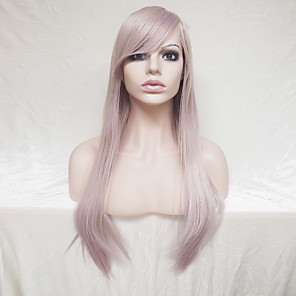 cheap Tattoo Grips-Synthetic Wig Straight Straight Asymmetrical With Bangs Wig Blonde Long White Synthetic Hair Women's Natural Hairline Blonde