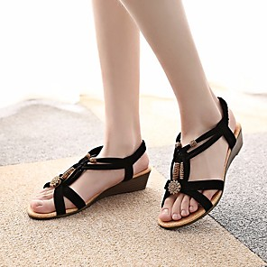 cheap Women's Sandals-Women's Sandals Wedge Sandals Flat Sandal Summer Flat Heel Open Toe Comfort Roman Shoes Beach Rhinestone Solid Colored Fleece Walking Shoes Black / Beige / EU37
