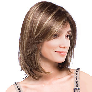 cheap Synthetic Trendy Wigs-Synthetic Wig Straight Straight Wig Medium Length Brown Synthetic Hair Women's Highlighted / Balayage Hair Brown MAYSU