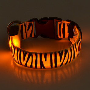 cheap Dog Collars, Harnesses & Leashes-Dog Collar Light Up Collar LED Lights Strobe / Flashing Zebra Terylene Yellow Red