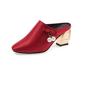 Mujer Zapatos Aterciopelado / PU Primavera / Otoño Confort Zuecos y pantuflas Tacón Bajo Negro uuDT41UO