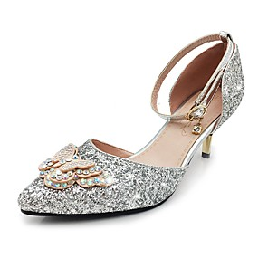 cheap Wedding Shoes-Women's Heels Stiletto Heel Pointed Toe Bowknot / Sequin / Sparkling Glitter Sparkling Glitter / Paillette Basic Pump / Ankle Strap Spring / Summer Gold / Silver / Wedding / Party & Evening / Buckle