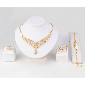 cheap Jewelry Sets-Women's Synthetic Diamond Necklace Bracelet Ring Leaf Classic Simple Style Gold Plated Earrings Jewelry Gold For Wedding Party Birthday Engagement Club Valentine