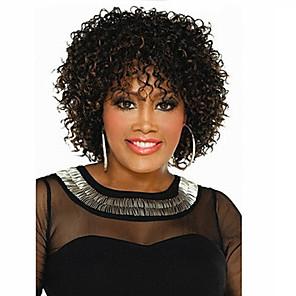 abordables Perruques Synthétiques Sans Bonnet-Perruque Synthétique Bouclé Bouclé Perruque Court Marron Cheveux Synthétiques Femme Cheveux Colorés Marron