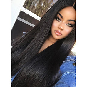 cheap Human Hair Wigs-Remy Human Hair Full Lace Wig style Indian Hair Straight Wig 180% Density with Baby Hair 100% Hand Tied Women's Long Human Hair Lace Wig