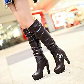cheap Women's Boots-Women's Boots Knee High Boots Chunky Heel / Platform Round Toe Rhinestone / Imitation Pearl / Buckle PU Knee High Boots Fashion Boots Fall / Winter Black / Dark Brown / White / Party & Evening / EU40