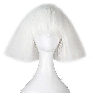 cheap Costume Wigs-Synthetic Wig Cosplay Wig kinky Straight Yaki Kardashian kinky straight Yaki Bob With Bangs Wig Short White Synthetic Hair Women's White miss u hair