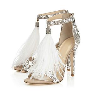 cheap Wedding Shoes-Women's Sandals Furry Feather Stiletto Heel Open Toe Rhinestone / Tassel / Zipper PU Comfort / Novelty Spring / Fall Almond / Wedding / Party & Evening / Party & Evening / EU41