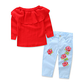 cheap Kids Collection Under $8.99-Toddler Girls' Floral Dresswear Floral Solid Colored Print Long Sleeve Regular Regular Clothing Set Red