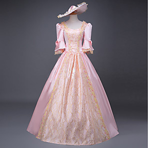 cheap Historical & Vintage Costumes-Cinderella Goddess Dress Cosplay Costume Masquerade Ball Gown Adults' Women's Rococo Medieval Renaissance Party Prom Christmas Halloween Carnival Festival / Holiday Lace Satin Pink Carnival Costumes
