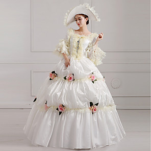 cheap Movie & TV Theme Costumes-Witch Princess Queen Dress Cosplay Costume Ball Gown Victorian Medieval Renaissance Halloween Carnival New Year Festival / Holiday Beige Carnival Costumes Plus Size Customized Ball Gown Print Solid