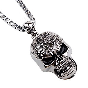 cheap Pendant Necklaces-Men's Pendant Necklace Chain Necklace Mexican Sugar Skull Skull Punk Satanic Metal Alloy Silver Necklace Jewelry For Halloween Stage Cosplay Costumes