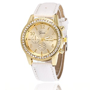 cheap Quartz Watches-Women's Wrist Watch Simulated Diamond Watch Diamond Watch Quartz Ladies Imitation Diamond Quilted PU Leather Black / White / Blue Analog - White Black Blue