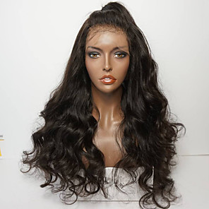 cheap Human Hair Wigs-Human Hair Lace Front Wig Layered Haircut style Brazilian Hair Deep Wave Wig 130% Density with Baby Hair Natural Hairline For Black Women Unprocessed Women's Short Medium Length Long Human Hair Lace