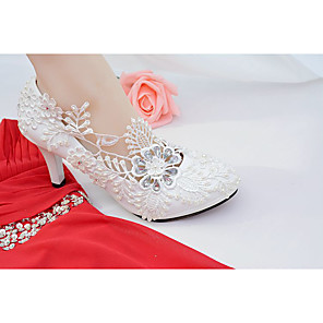 cheap Wedding Shoes-Women's Wedding Shoes Mesh Spring / Fall Round Toe Comfort Wedding Party & Evening Rhinestone / Imitation Pearl / Appliques Lace / Leatherette White / EU41