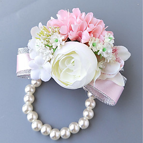 cheap Wedding Flowers-Wedding Flowers Wrist Corsages Wedding Polyester 3.94 inch