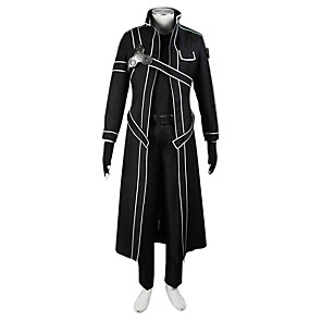 cheap Anime Costumes-Inspired by SAO Alicization Kirito Anime Cosplay Costumes Japanese Cosplay Suits Solid Colored Coat Shirt For Men's