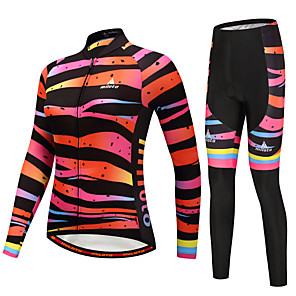 cheap Cycling Jersey & Shorts / Pants Sets-Miloto Women's Long Sleeve Cycling Jersey with Tights Green Black / Orange Yellow Bike Clothing Suit Winter Sports Horizontal Stripes Mountain Bike MTB Road Bike Cycling Clothing Apparel / Stretchy
