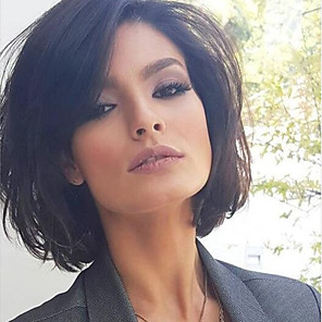 cheap Human Hair Capless Wigs-Human Hair Capless Wigs Human Hair Straight Short Hairstyles 2019 Halle Berry Hairstyles Side Part Medium Length Machine Made Wig Women's