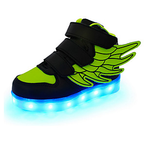 cheap 3D Night Lights-Boys' Sneakers LED / LED Shoes / USB Charging Leather Wings Shoes Little Kids(4-7ys) / Big Kids(7years +) Magic Tape / LED / Luminous White / Black / Red Spring / Fall / Rubber