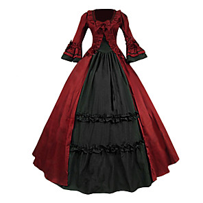 cheap Historical & Vintage Costumes-Victorian Medieval 18th Century Dress Party Costume Masquerade Women's Lace Cotton Costume Red Vintage Cosplay Party Prom Long Sleeve Long Length Ball Gown