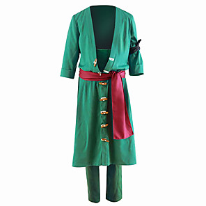 cheap Anime Costumes-Inspired by One Piece Roronoa Zoro Anime Cosplay Costumes Japanese Cosplay Suits Solid Colored Coat Pants For Men's