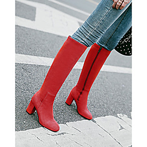 cheap Women's Boots-Women's Boots Knee High Boots Chunky Heel Round Toe Zipper Leatherette Knee High Boots Riding Boots / Fashion Boots Winter Black / Red / Dark Blue / EU39
