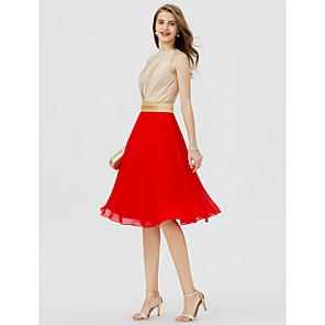cheap Party Sashes-Back To School A-Line Color Block Elegant Cocktail Party Prom Dress Jewel Neck Sleeveless Short / Mini Chiffon Stretch Satin with Sash / Ribbon Beading 2020 Hoco Dress