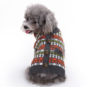 cheap Dog Clothes-Dog Sweater British Casual / Daily Winter Dog Clothes Red Costume Acrylic Fibers XXS XS S M L XL