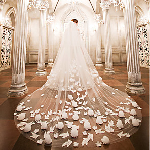 cheap Wedding Veils-Two-tier Wedding Veil Cathedral Veils with Appliques Lace / Tulle / Angel cut / Waterfall