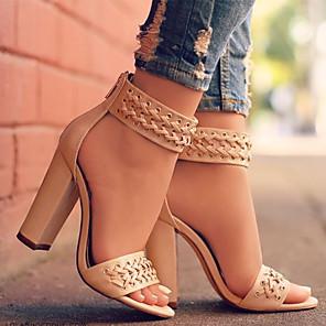 cheap Women's Sandals-Women's Sandals Spring / Summer Block Heel Open Toe Vintage British Wedding Party & Evening Solid Colored PU Walking Shoes Black / Beige / EU42